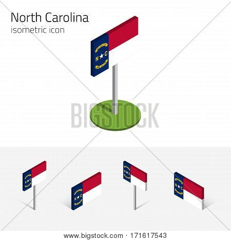 North Carolina flag (State of North Carolina, USA), vector set of isometric flat icons, 3D style, different views. Editable design element for banner, website, presentation, infographic, map, collage