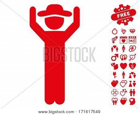 Gentleman Hands Up icon with bonus decoration design elements. Vector illustration style is flat iconic red symbols on white background.