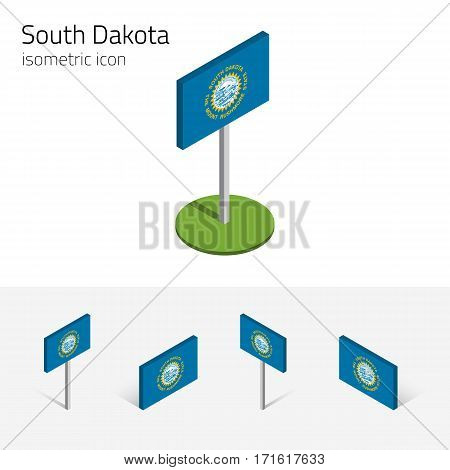Flag of South Dakota (State of South Dakota, USA), vector set of isometric flat icons, 3D style, different views. Editable design element for banner, website, presentation, infographic, map, poster, collage