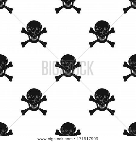 Pirate skull and crossbones icon in black style isolated on white background. Pirates pattern vector illustration.