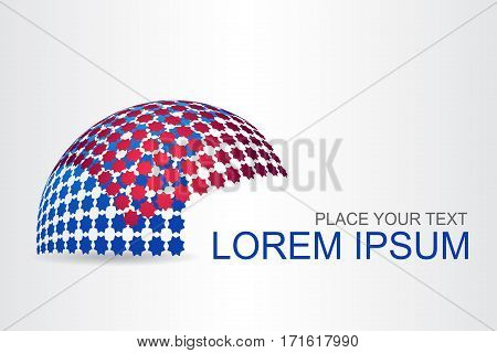 Logo stylized spherical surface with stars shapes. This logo is suitable for global company world technologies and media and publicity agencies