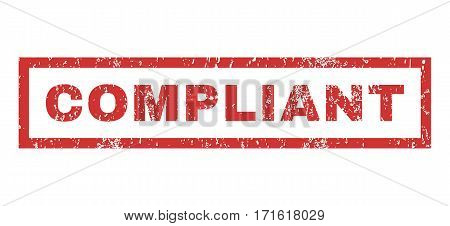 Compliant text rubber seal stamp watermark. Caption inside rectangular banner with grunge design and dirty texture. Horizontal vector red ink sign on a white background.