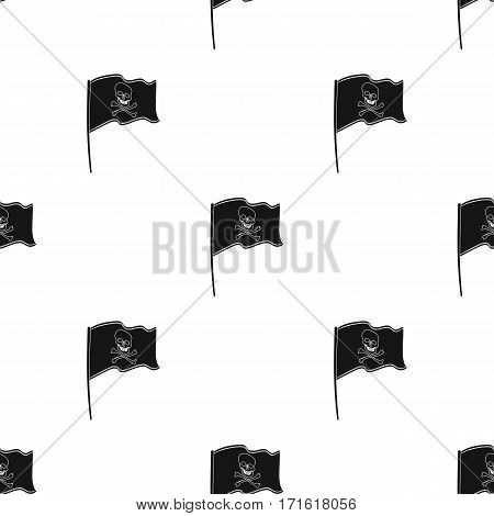 Pirate flag icon in black style isolated on white background. Pirates pattern vector illustration.