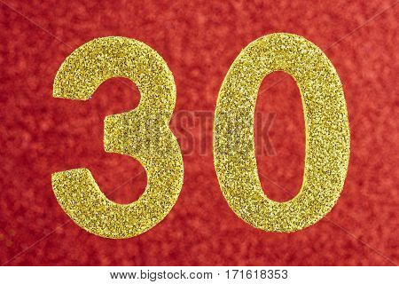 Number thirty yellow color over a red background. Anniversary. Horizontal