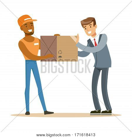 Delivery Service Worker Bringing Box To Office Worker, Smiling Courier Delivering Packages Illustration. Vector Cartoon Male Character In Uniform Carrying Packed Objects With A Smile.