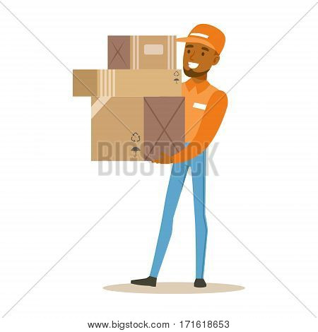 Delivery Service Worker In Orange Cap Holding Pile Of Boxes, Smiling Courier Delivering Packages Illustration. Vector Cartoon Male Character In Uniform Carrying Packed Objects With A Smile.