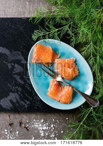 Salted Salmon With Dill