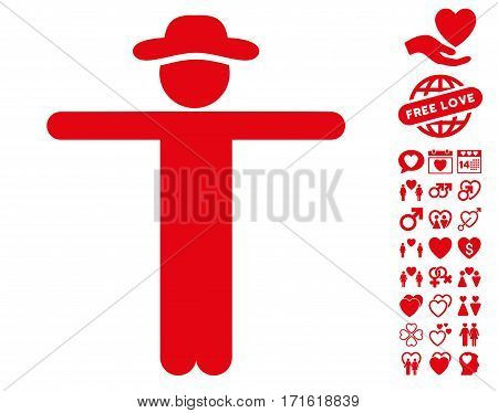 Gentleman Scarescrow pictograph with bonus lovely clip art. Vector illustration style is flat iconic red symbols on white background.