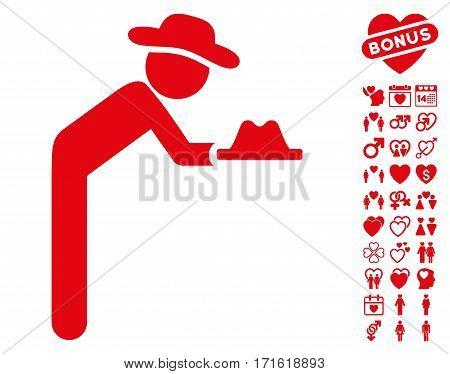 Gentleman Servant icon with bonus decoration design elements. Vector illustration style is flat iconic red symbols on white background.