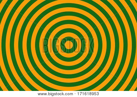 Illustration of dark green and orange concentric circles
