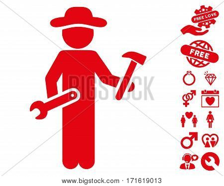 Gentleman Serviceman icon with bonus decorative images. Vector illustration style is flat iconic red symbols on white background.