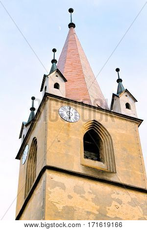 Hungarian catholic church tower with clock, targu mures, romania