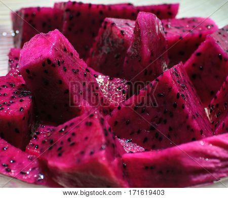 Pink Pitaya Fruit Cut Into Slices