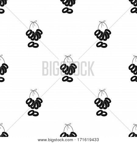 Russian national donut icon in black design isolated on white background. Russian country pattern stock vector illustration.