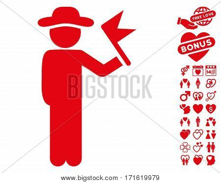 Gentleman With Flag icon with bonus passion pictures. Vector illustration style is flat iconic red symbols on white background.