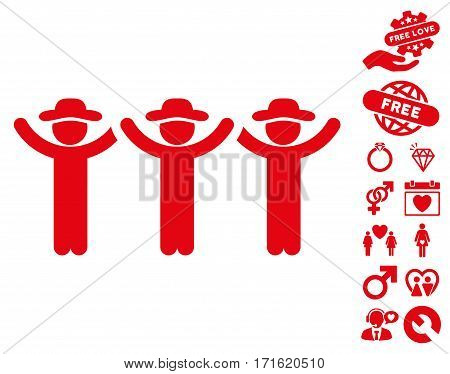 Gentlemen Hands Up Roundelay pictograph with bonus amour design elements. Vector illustration style is flat iconic red symbols on white background.