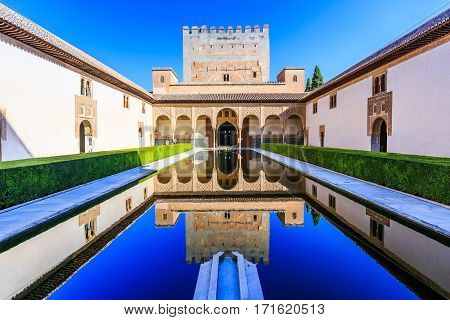 Alhambra Granada Spain. The Nasrid Palaces (Palacios Nazaríes) in the Alhambra fortress.