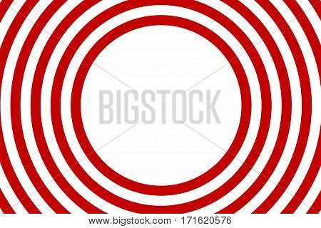Illustration of red and white concentric circles with space in the center