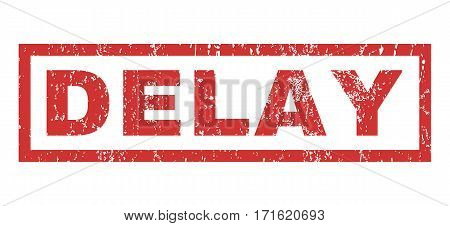 Delay text rubber seal stamp watermark. Caption inside rectangular shape with grunge design and scratched texture. Horizontal vector red ink sticker on a white background.
