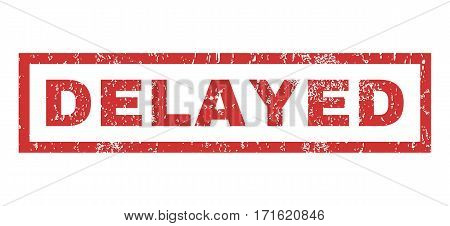 Delayed text rubber seal stamp watermark. Caption inside rectangular shape with grunge design and unclean texture. Horizontal vector red ink emblem on a white background.