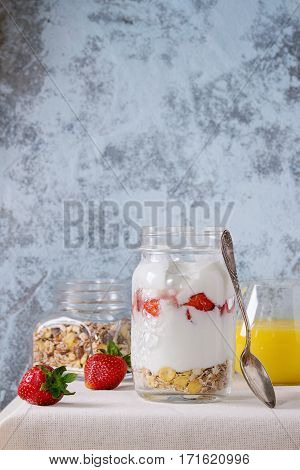 Breakfast With Muesli And Yoghurt