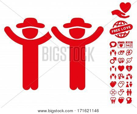 Hands Up Gentlemen icon with bonus lovely pictures. Vector illustration style is flat iconic red symbols on white background.