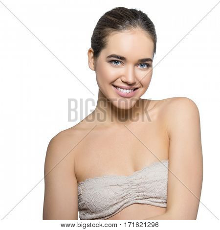 Girl with perfect smile. Beauty female portrait. Beautiful young woman happy smiling, over white background. Health care, youth and aging, spa, cosmetology concept.