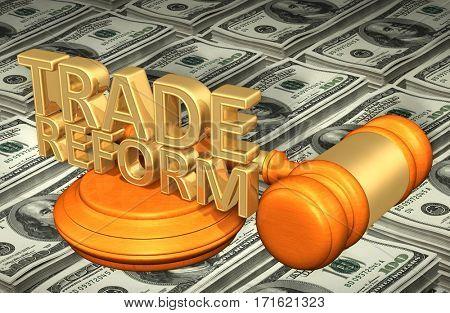 Trade Reform Legal Gavel Concept 3D Illustration