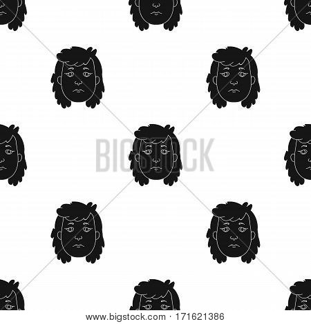 Cavewoman face icon in black style isolated on white background. Stone age pattern vector illustration.