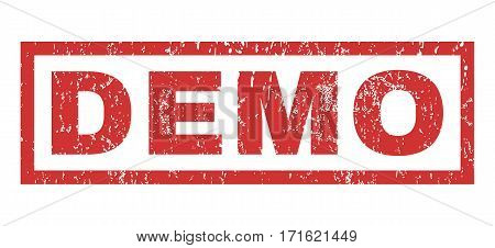 Demo text rubber seal stamp watermark. Tag inside rectangular banner with grunge design and dust texture. Horizontal vector red ink sticker on a white background.