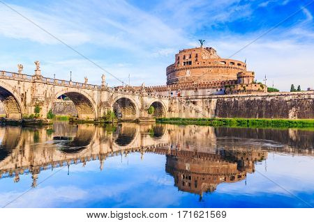 Rome Italy. Saint Angelo castle and bridge over the Tiber river.