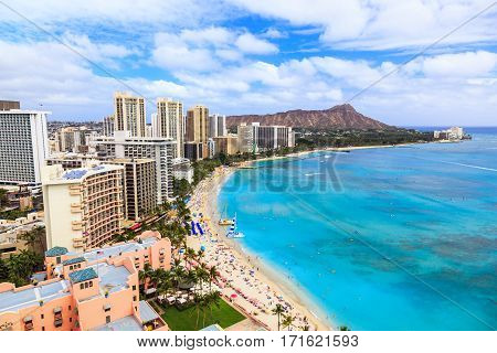 Honolulu Hawaii. Skyline of Honolulu Diamond Head volcano including the hotels and buildings on Waikiki Beach.
