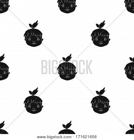 Cavechild face icon in black style isolated on white background. Stone age pattern vector illustration.