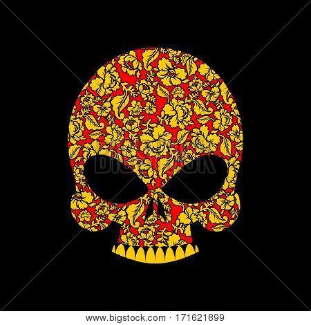 Skull Russian Khokhloma Folk Traditional Painting. Skeleton Head