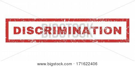 Discrimination text rubber seal stamp watermark. Tag inside rectangular banner with grunge design and scratched texture. Horizontal vector red ink emblem on a white background.