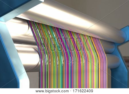Textile machine with colors threads 3d render