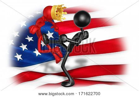 The Original 3D Character Illustration Kicking The King Of America
