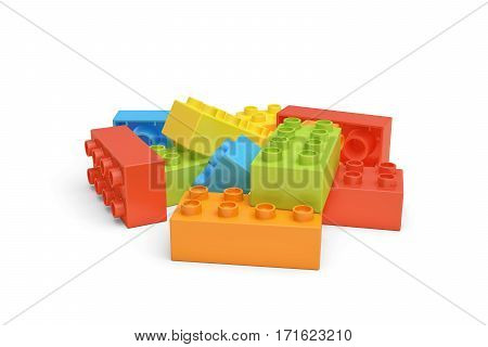 3d rendering of several colorful toy bricks lying on white background. Games and toys. Puzzle pieces. Building blocks.