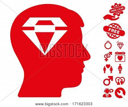 Human Head With Diamond pictograph with bonus passion pictures. Vector illustration style is flat iconic red symbols on white background.