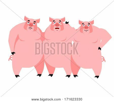 Three Pig. Illustration For Fairy Tale. Piglets On White Background