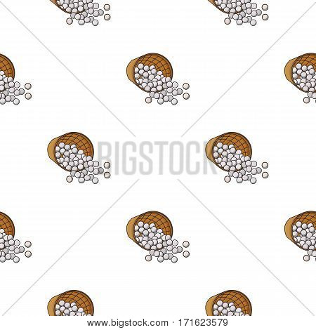 Basket with golf balls icon in cartoon style isolated on white background. Golf club symbol vector illustration.