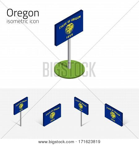 Flag of Oregon (State of Oregon, USA), vector set of isometric flat icons, 3D style, different views. Editable design element for banner, website, presentation, infographic, poster, map, card