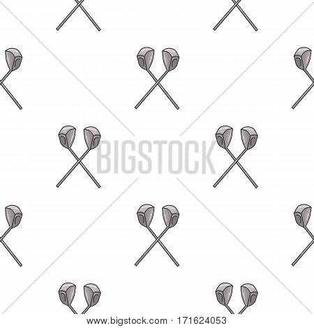 Crossed golf clubs icon in cartoon style isolated on white background. Golf club symbol vector illustration.