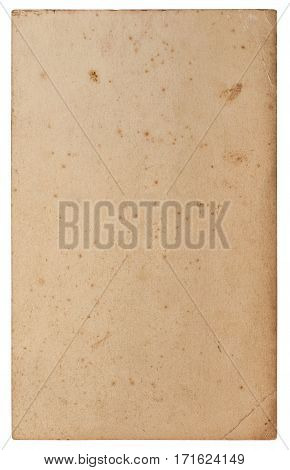 Used paper sheet. Empty cardboard with edges isolated on white background