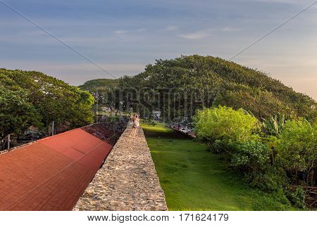 Scenic view of stone walls in ancient Dutch Galle Fort known as one of UNESCO World Heritage Site in Sri Lanka