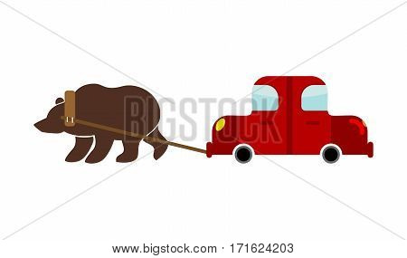 Tow In Russia. Russian Bear And Car. Traditional National Evacuate Machine