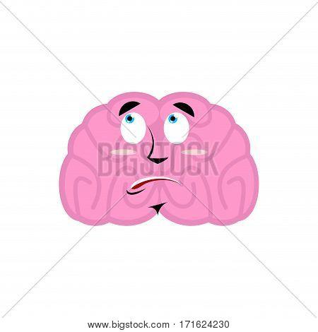 Brain Surprised Emotion. Human Brains Emoji Astonished. Isolated Mind