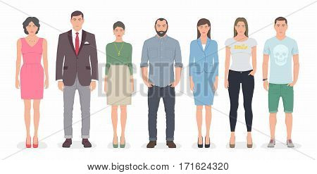 Group of business people standing together. Flat cartoon style