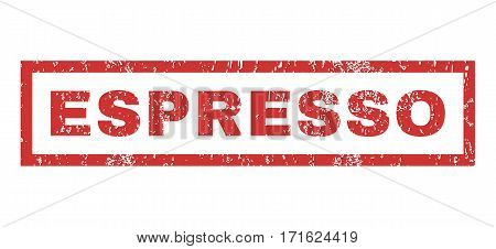 Espresso text rubber seal stamp watermark. Caption inside rectangular banner with grunge design and dust texture. Horizontal vector red ink emblem on a white background.