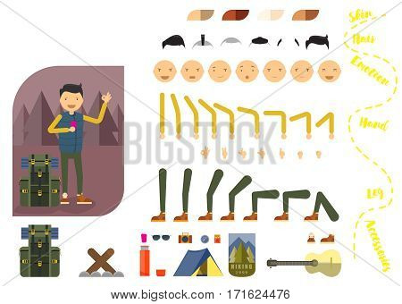 Man tourist constructor. Man with phone and backpack. Separate part of male person. Icons with different emotions on face. Various types of faces. Front view of man. Bended hands, legs. Vector